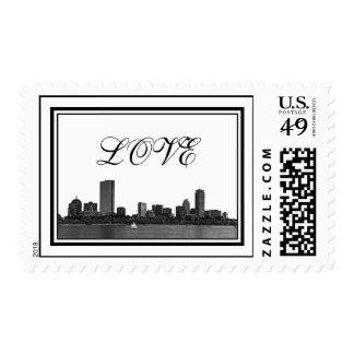 Boston Skyline Etched Framed LOVE Stamps