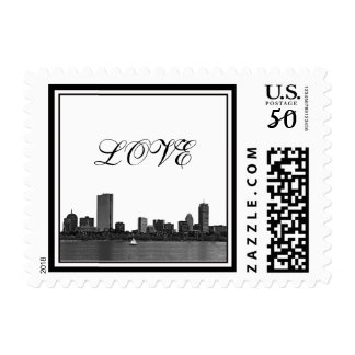Boston Skyline Etched Framed LOVE small Postage