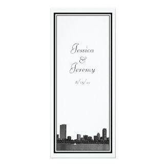 """Boston Skyline Etched Framed Menu Reception 4"""" X 9.25"""" Invitation Card"""