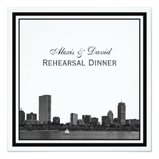 Boston Skyline Etched Framed Rehearsal Dinner Card