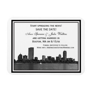 Boston Skyline Etched Framed Save the Date Magnet