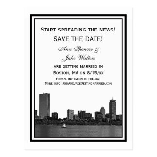 Boston Skyline Etched Framed Save the Date Postcard