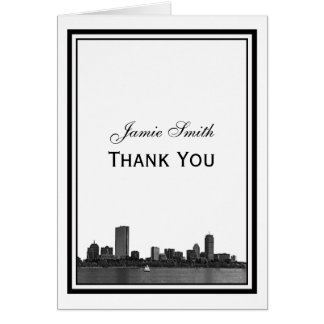 Boston Skyline Etched Framed Thank You Stationery Note Card