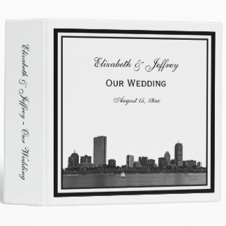 Boston Skyline Etched Framed Wedding Binder