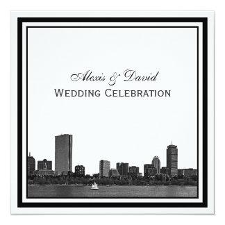 Boston Skyline Etched Framed Wedding Card