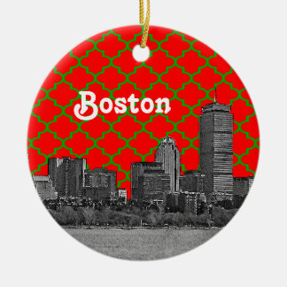 Boston Skyline Etched Green Red Quatrefoil BG Xmas Double-Sided Ceramic Round Christmas Ornament