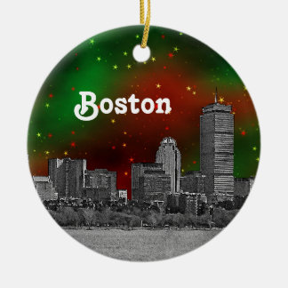 Boston Skyline Etched Green Red Starry Sky Xmas Ceramic Ornament