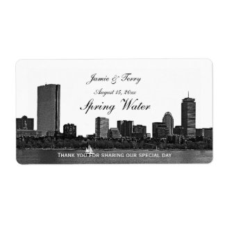Boston Skyline Etched H #2 Water Bottle Label