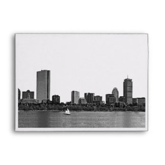 Boston Skyline Etched Look A7 5x7 Envelope