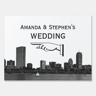 Boston Skyline Etched Look Wedding Sign Medium