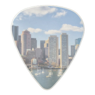 Boston skyline from waterfront acetal guitar pick