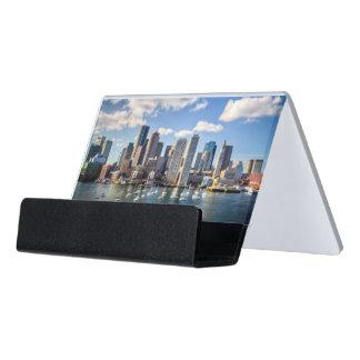 Boston skyline from waterfront desk business card holder
