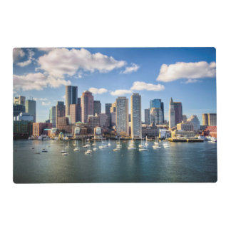Boston skyline from waterfront laminated place mat