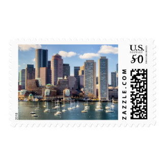 Boston skyline from waterfront postage