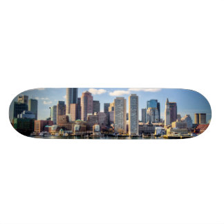 Boston skyline from waterfront skateboard