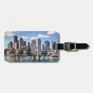 Boston skyline from waterfront travel bag tags