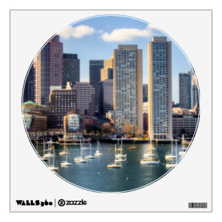 Boston skyline from waterfront wall decal