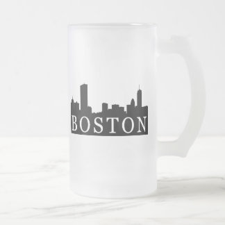 Boston Skyline Frosted Glass Beer Mug