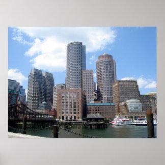 Boston Skyline in Summer Poster
