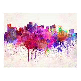 Boston skyline in watercolor background arte fotografico