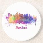 Boston skyline in watercolor posavasos manualidades