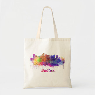 Boston skyline in watercolor tote bag