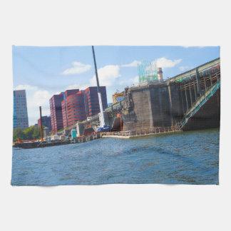 Boston skyline lake view bridges ferries fantastic kitchen towel