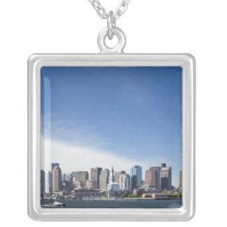 Boston Skyline, Massachusetts Square Pendant Necklace