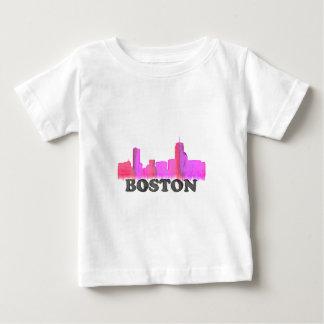 Boston Skyline Pink Baby T-Shirt