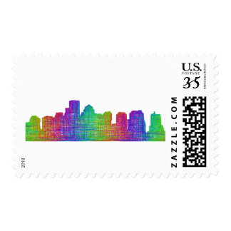 Boston skyline postage stamps
