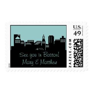 Boston Skyline Postage Stamp