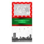 Boston Skyline Red Snowflake Christmas Card