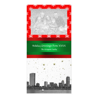 Boston Skyline Red Snowflake Christmas Card