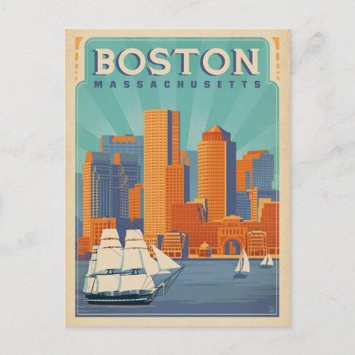 Boston Skyline  Sailboats  Massachusetts Postcard