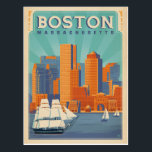 "Boston Skyline & Sailboats | Massachusetts Postcard<br><div class=""desc"">Anderson Design Group is an award-winning illustration and design firm in Nashville,  Tennessee. Founder Joel Anderson directs a team of talented artists to create original poster art that looks like classic vintage advertising prints from the 1920s to the 1960s.</div>"