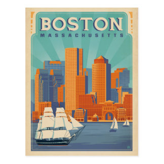 Boston Skyline & Sailboats | Massachusetts Postcard