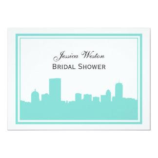 Boston Skyline Silhouette Framed H Bridal Shower Card