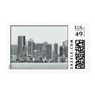 Boston Skyline Sketch--postage Postage Stamp