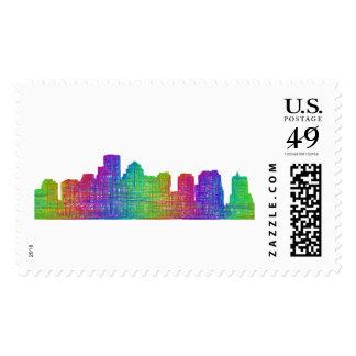 Boston skyline stamp