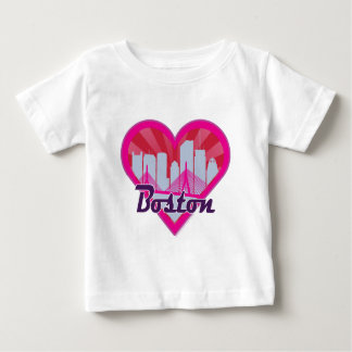 Boston Skyline Sunburst Heart Baby T-Shirt