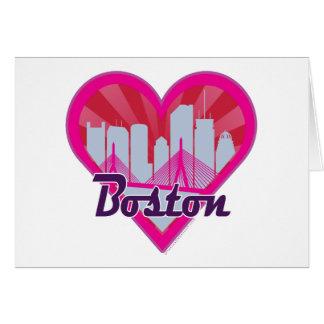 Boston Skyline Sunburst Heart Card
