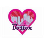 Boston Skyline Sunburst Heart Postcard