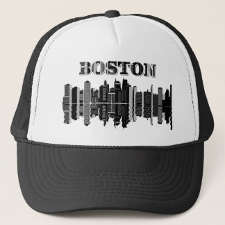 Boston Skyline Typography Trucker Hat