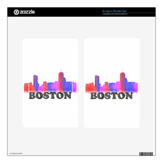 Boston Skyline watercolor Kindle Fire Decal