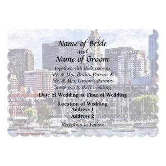 Boston Skyline With Custom House Tower Card