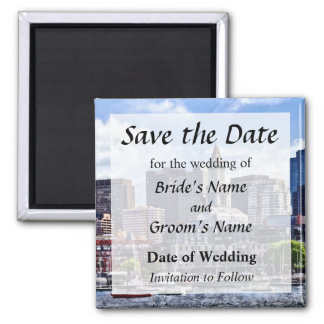 Boston Skyline With Custom House Tower Save Date Magnet