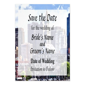 Boston Skyline With Custom House Tower Save Date Magnetic Card