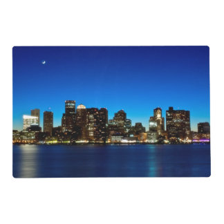 Boston skyline with moon placemat
