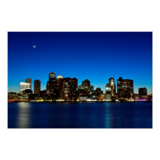 Boston skyline with moon poster