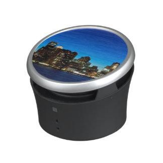 Boston skyline with moon speaker